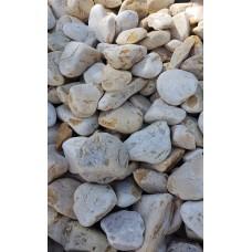 Piatră rotunjită galben alb