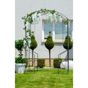 Pergolă grădină, metalică cu 2 banchete