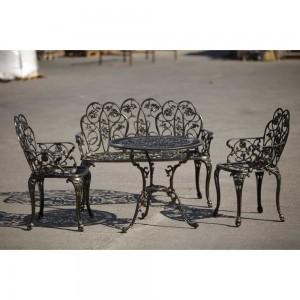 Set mobilier grădină  și terasă din aluminiu Klamen, negru-auriu