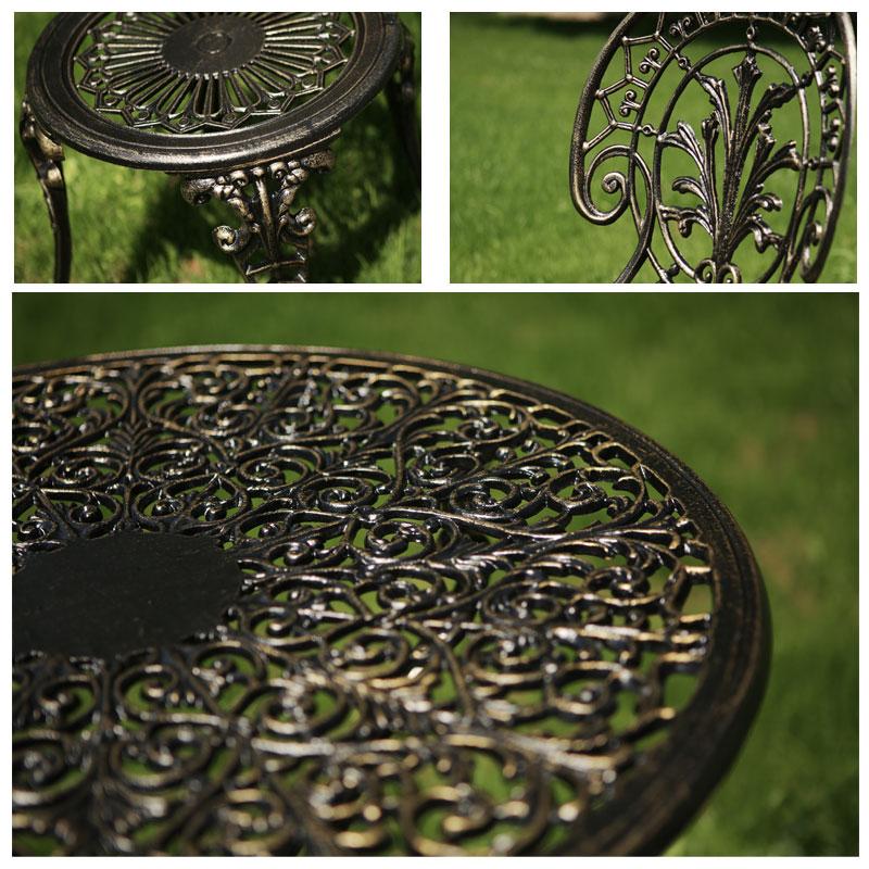 Set mobilier terasă și grădină din aluminiu Meda, negru-auriu